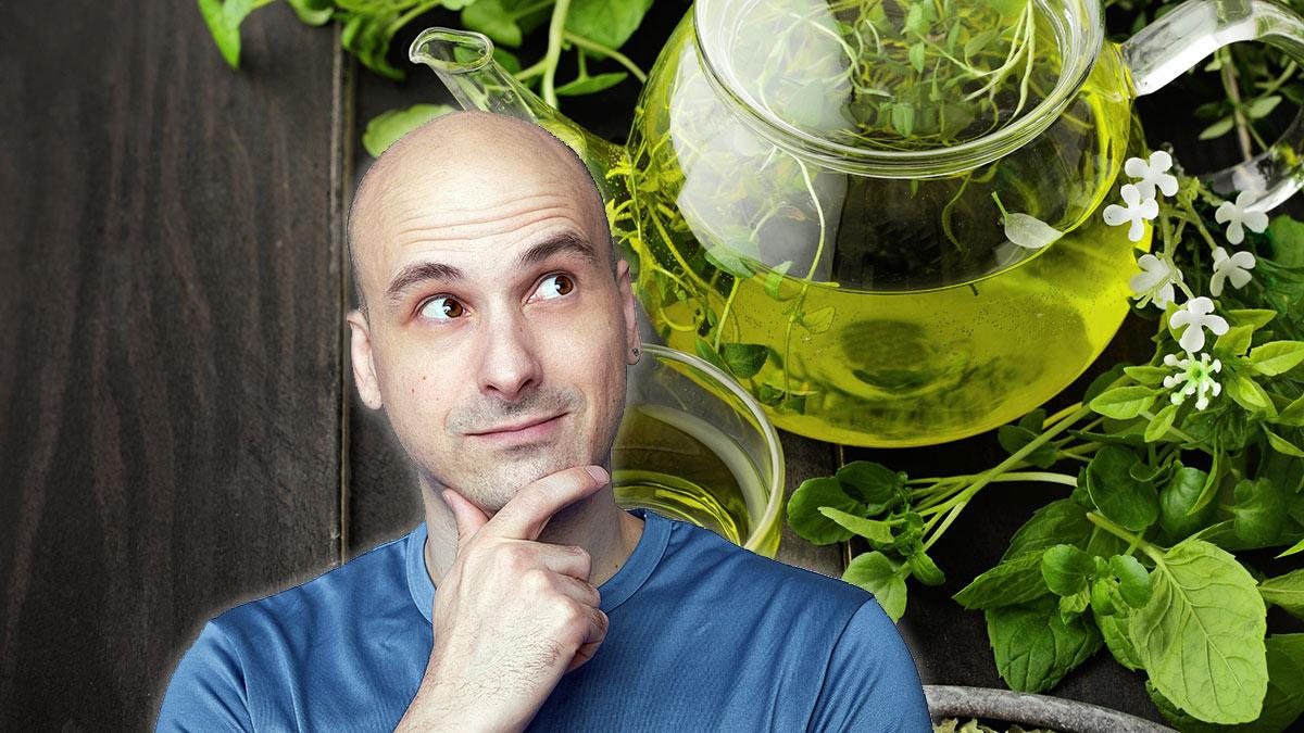 лысый мужчина потеря волос облысение зеленый чай польза