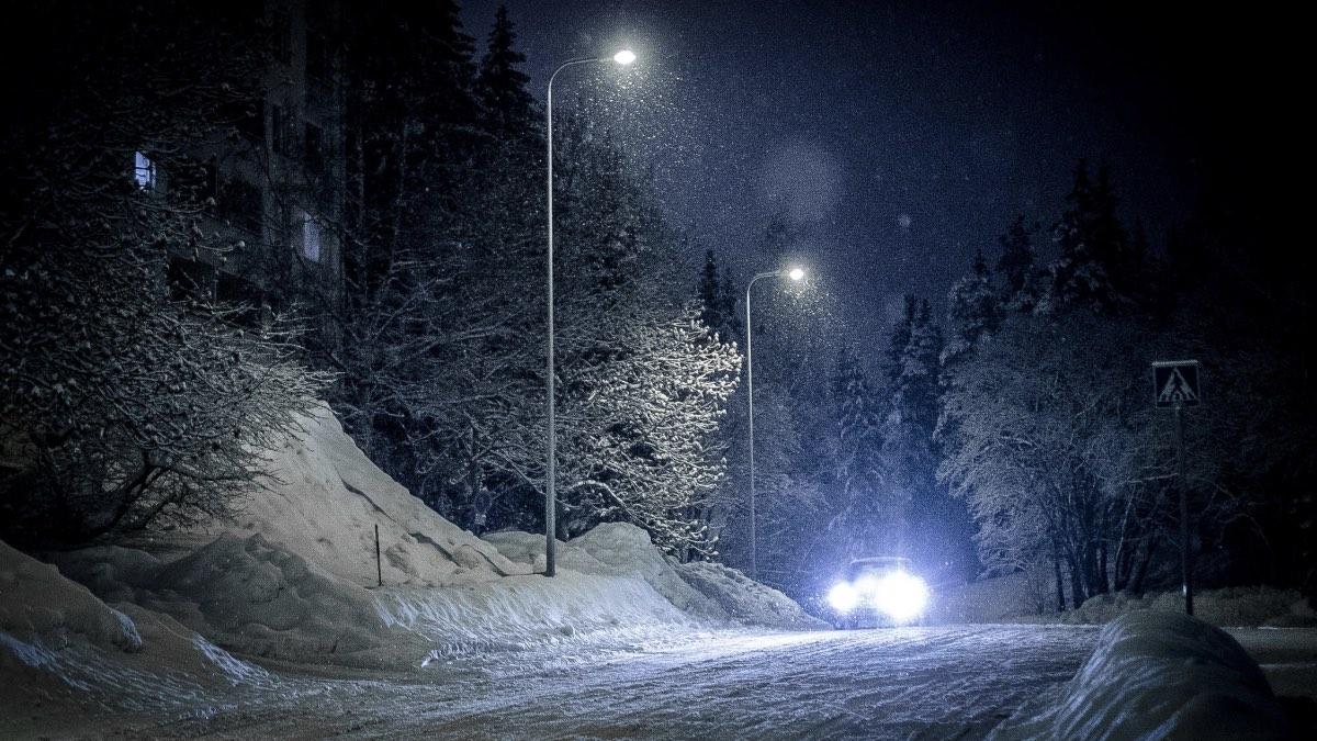 морозная ночь автомобиль