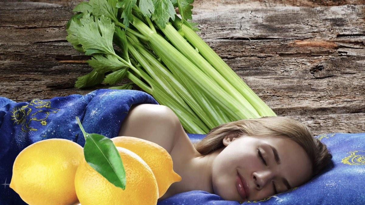 сельдерей лимоны и спящая девушка
