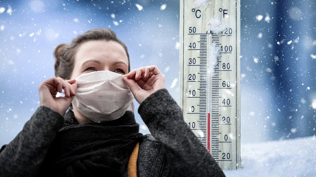термометр и девушка в маске