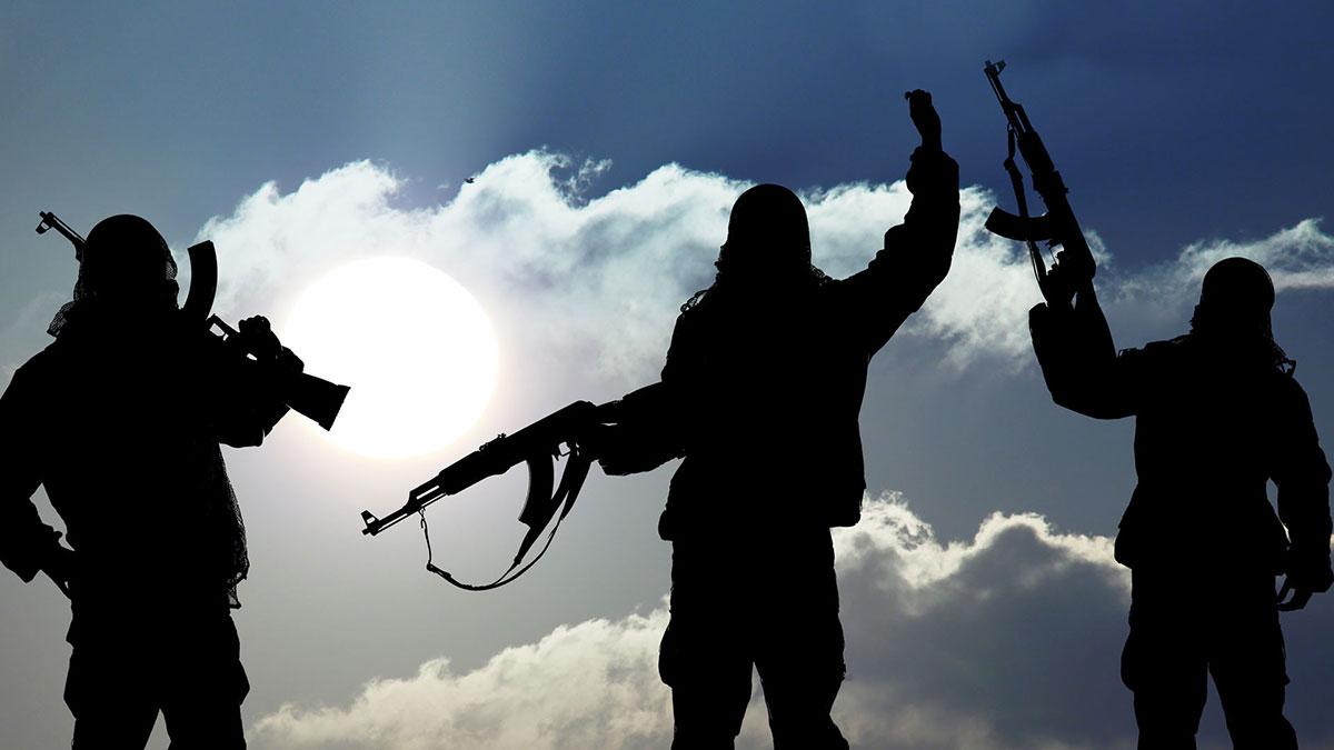 террористы люди оружием терроризм силуэты
