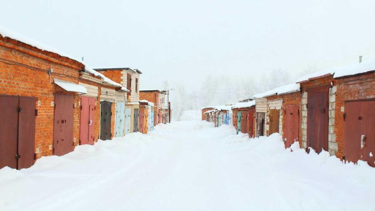 улица гаражи зима снег