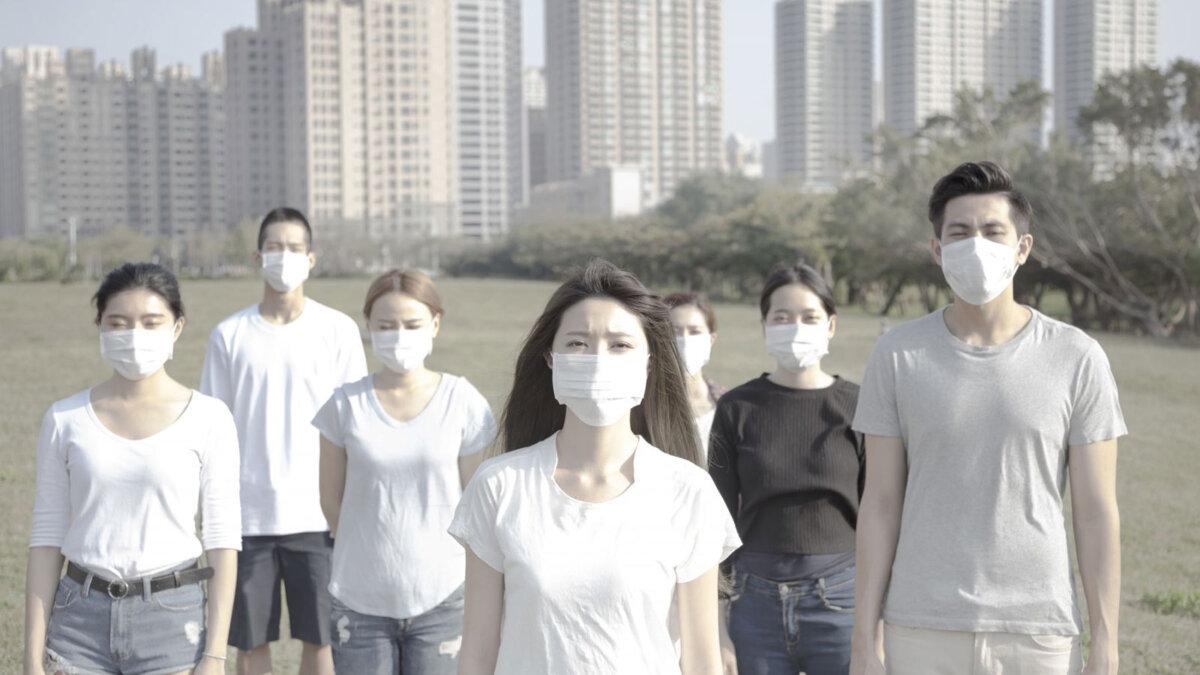 загрязнение воздуха смог Китай люди в масках
