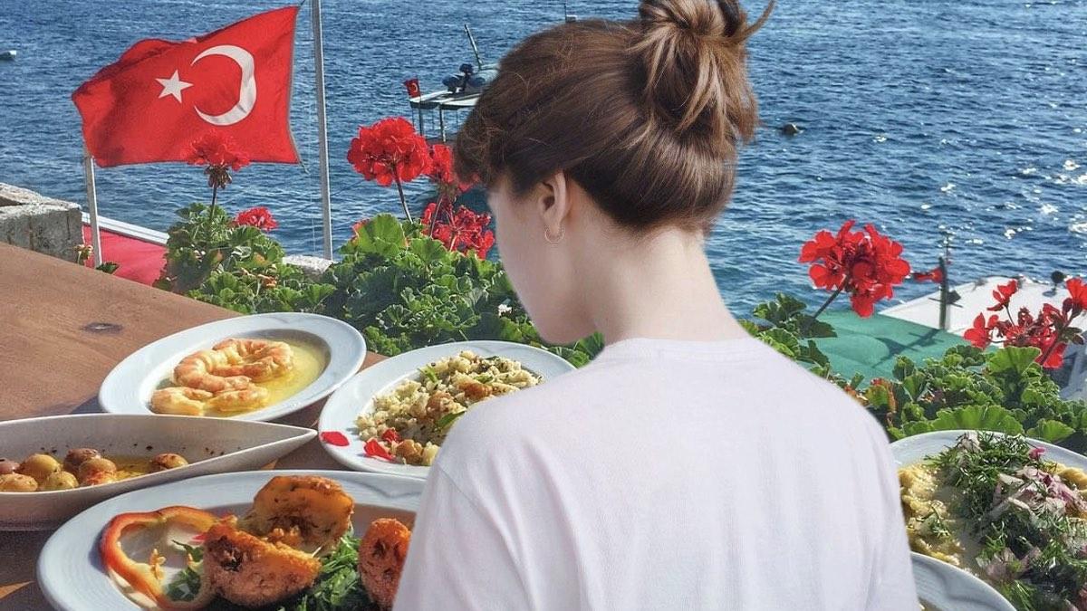женщина и еда в турции