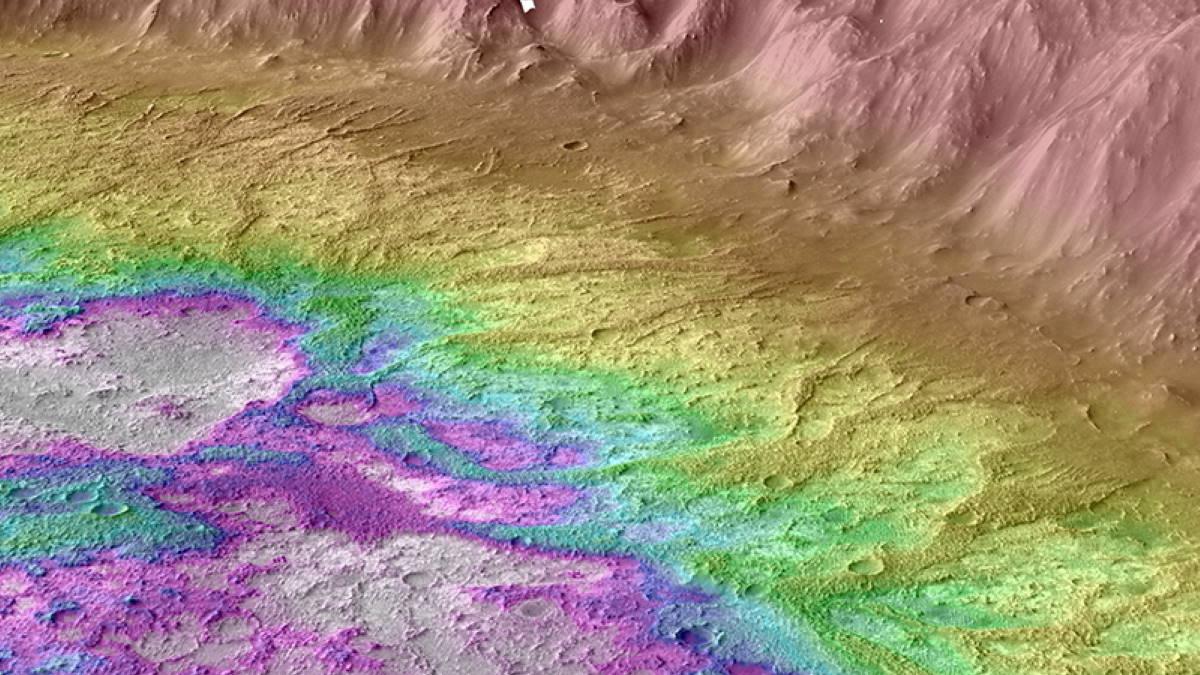 топографическая карта кратера на Марсе