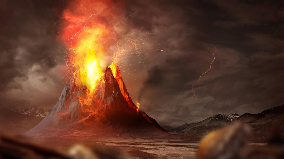Вулкан извержение молнии