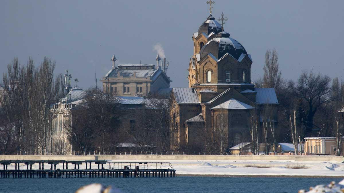 Крым Евпатория зима снег