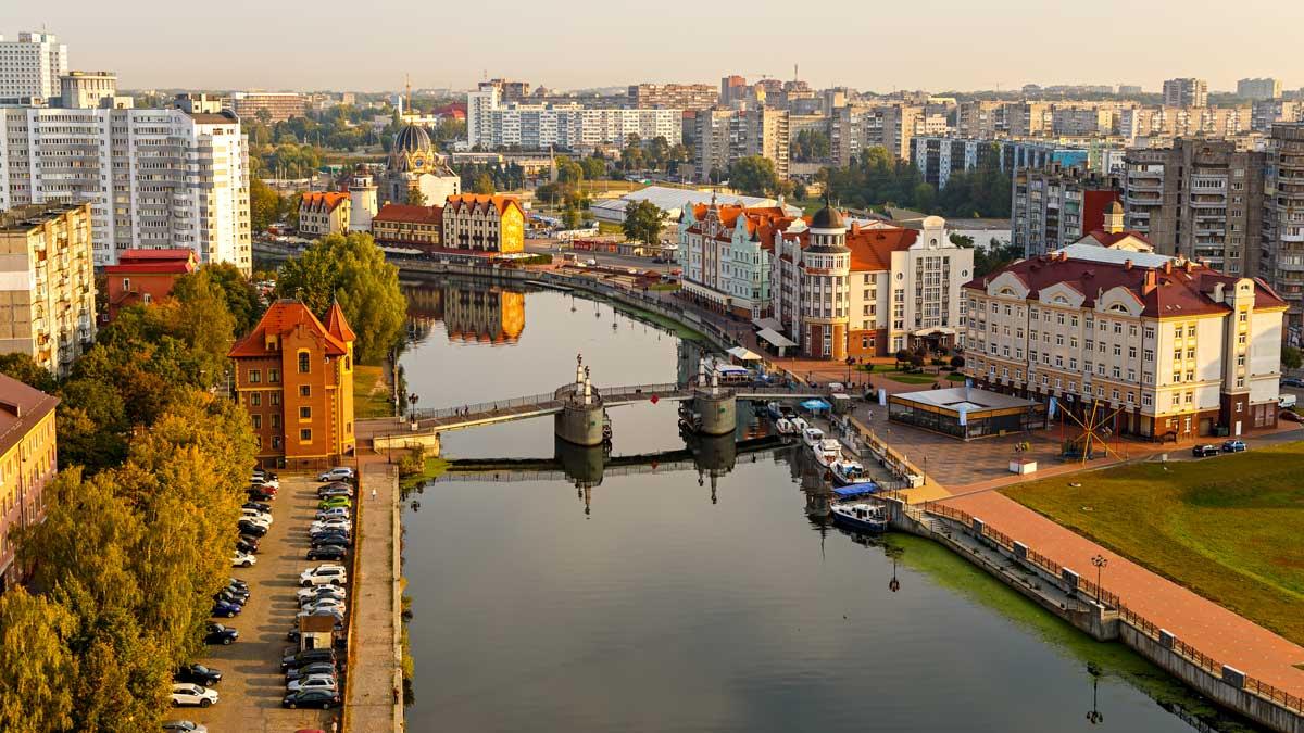 Утро Калининград мост река