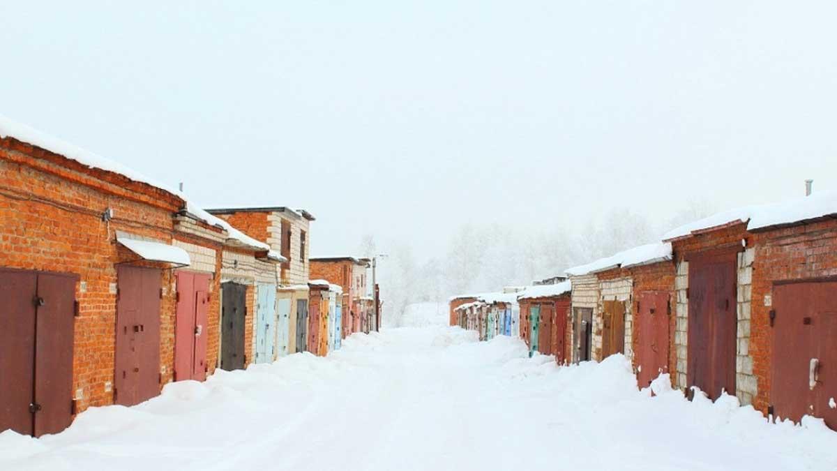 гаражи улица снег garages russia