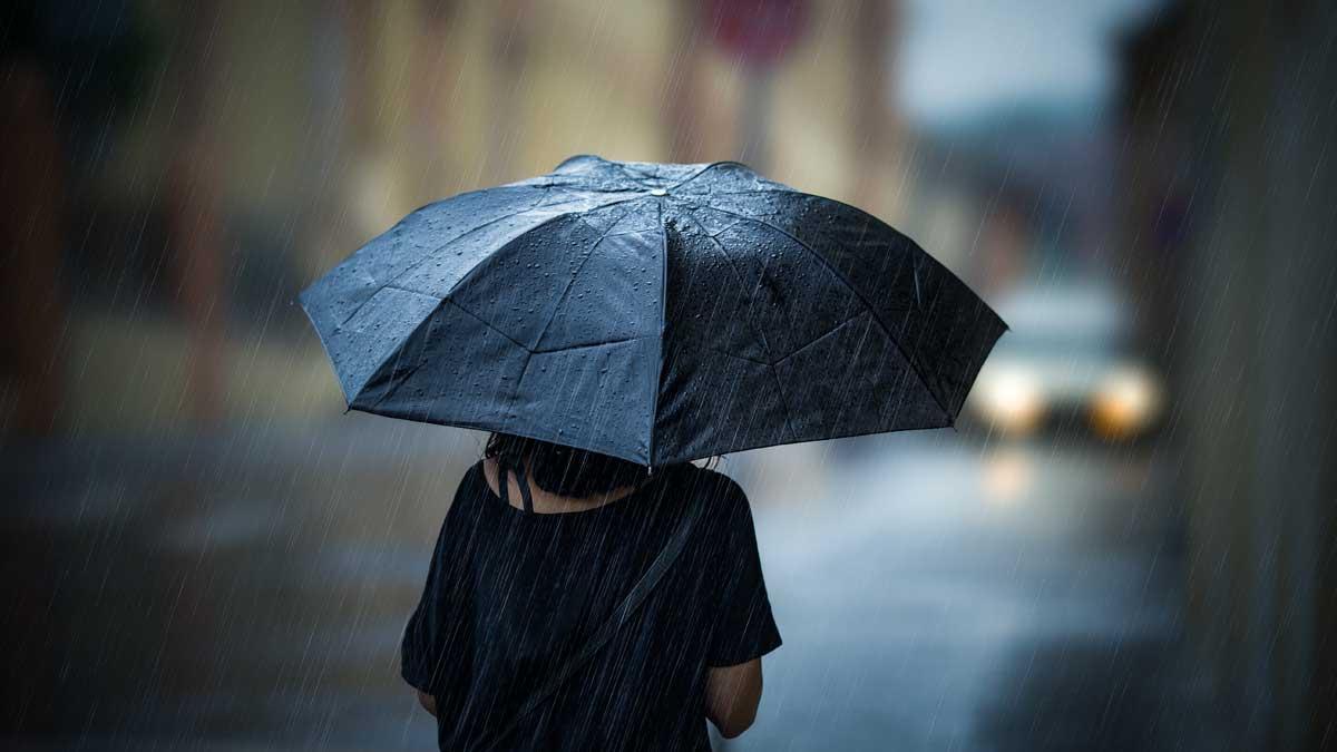 девушка c зонтиком дождь