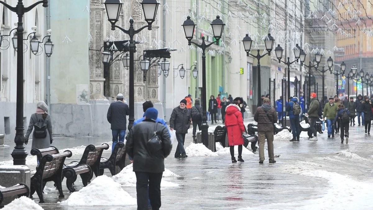 гололед в Москве прохожие