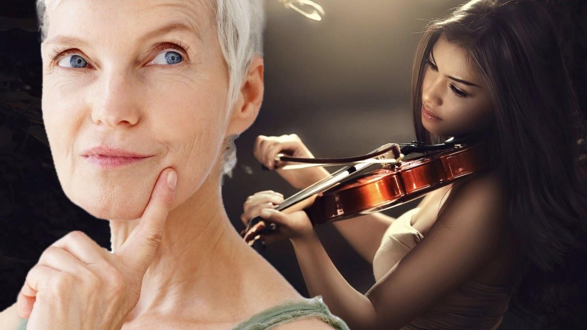 пожилая женщина и скрипка