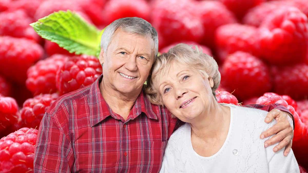 пожилые люди обнимаются малина