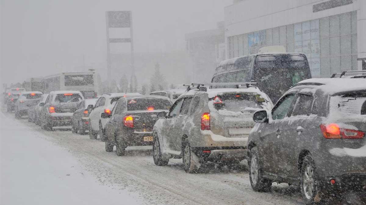 пробка дорога машины зима Москва