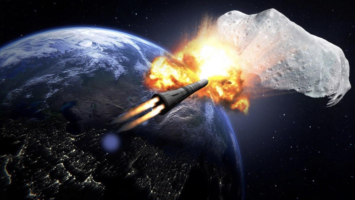 ракета и астероид