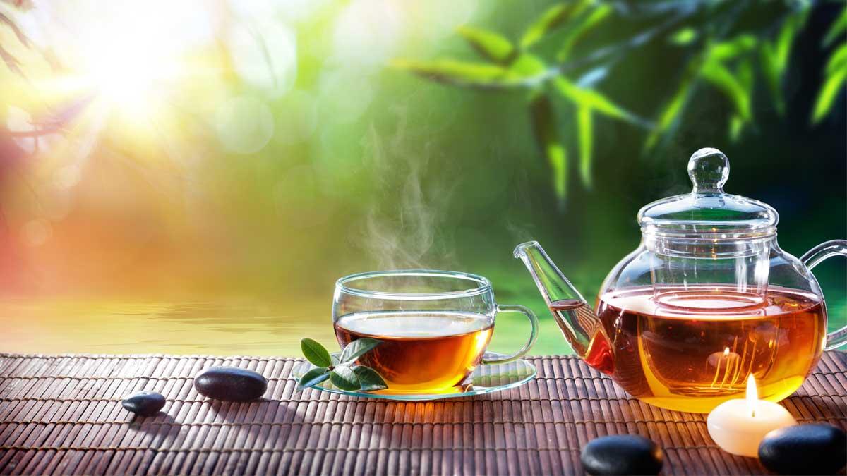 сад чай горячий кружка чайник