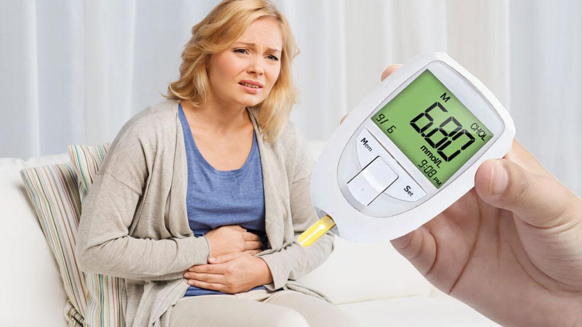 женщина боль в животе повышенный сахар в крови глюкометр