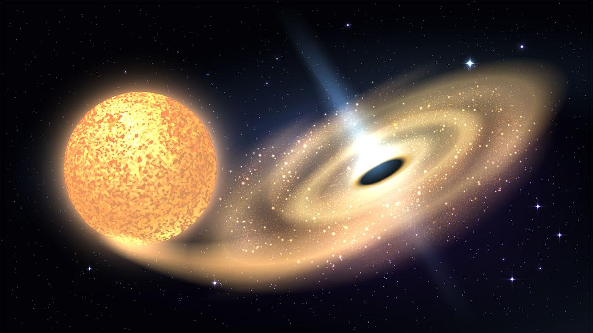 звезда переходит в черную дыру космос
