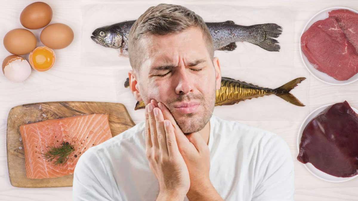 Продукты Витамина B12 боль во рту мужчина