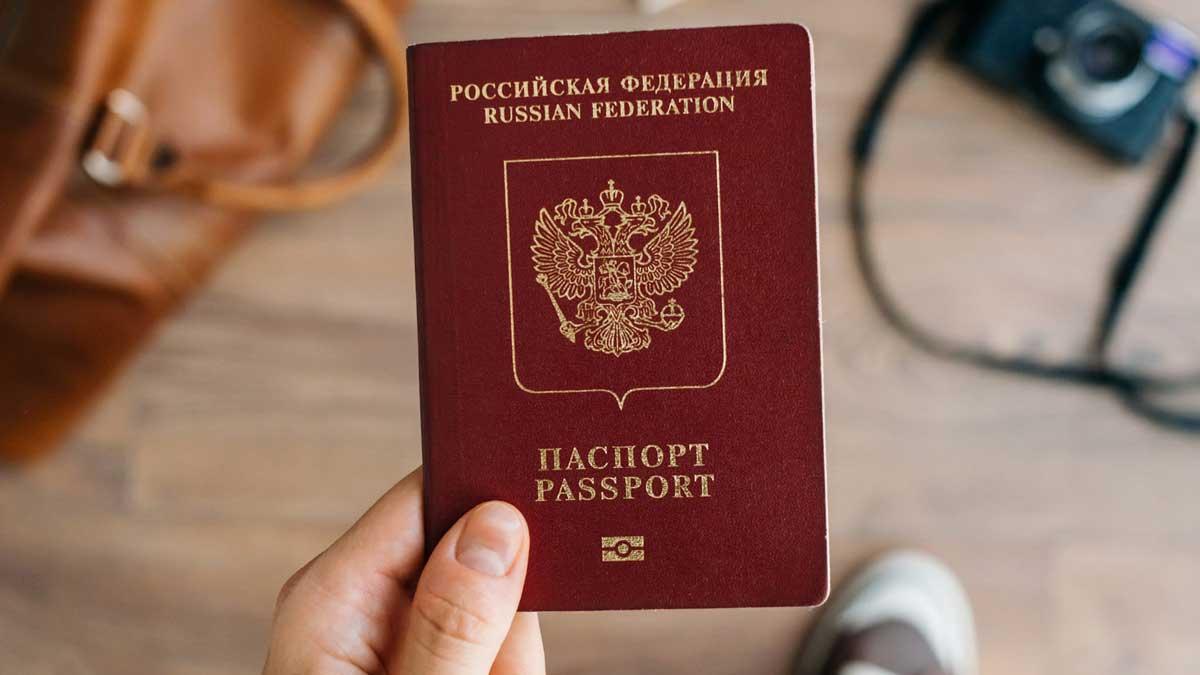 Рука паспорт сумка фотоаппарат