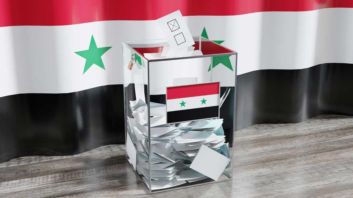 флаг Сирия урна для голосования