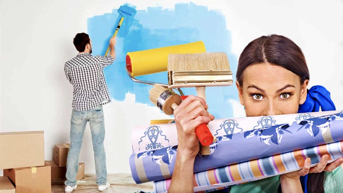 красить или клеить обои на стену