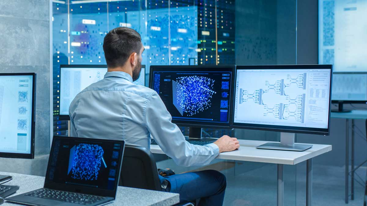 мужчина офис мониторы нейросеть neural network