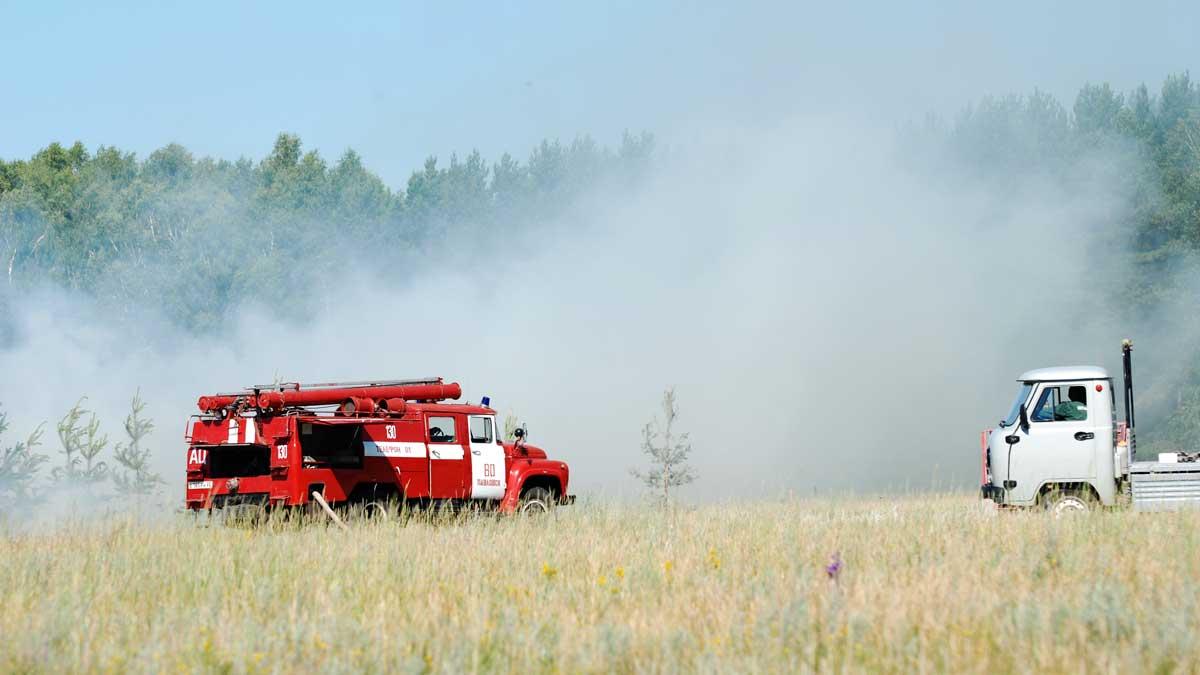 пожарная машина лес поле дым