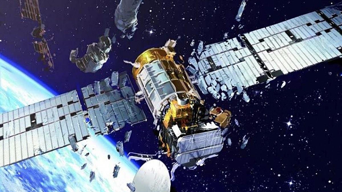 разрушение спутника в космосе