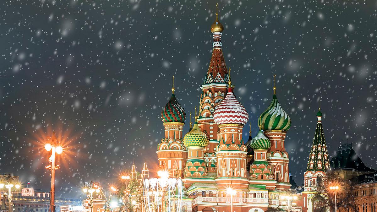 Москва ночь снег