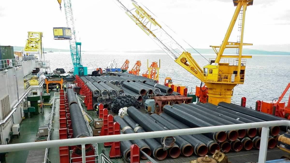 укладка труб море корабль Северный поток-2