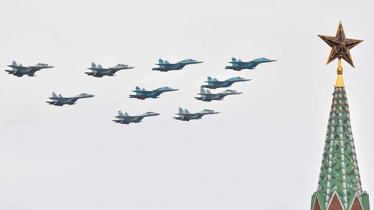 Авиационный парад в честь празднования 76-й годовщины Великой Победы.