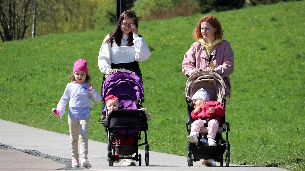 Две молодые женщины гуляют с детьми