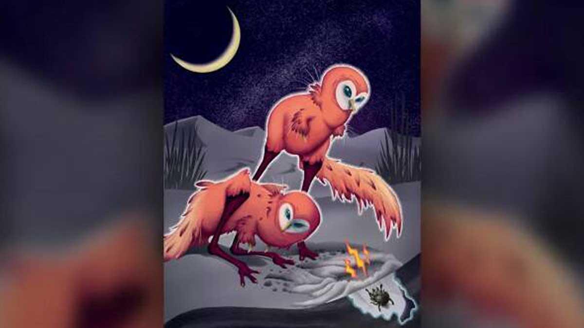Художественная репродукция двух ночных охотничьих шувуев пустынь подчеркивает сходство динозавра с совой