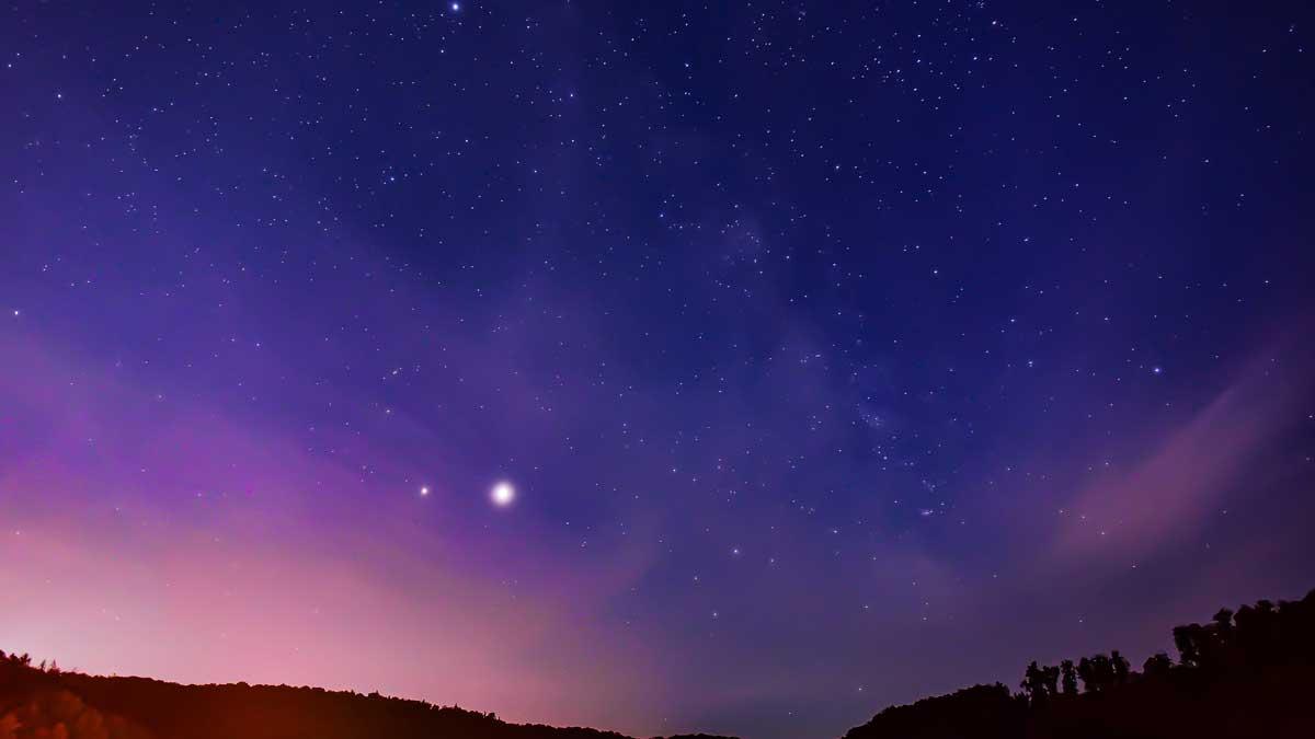 Юпитер и Сатурн в небе