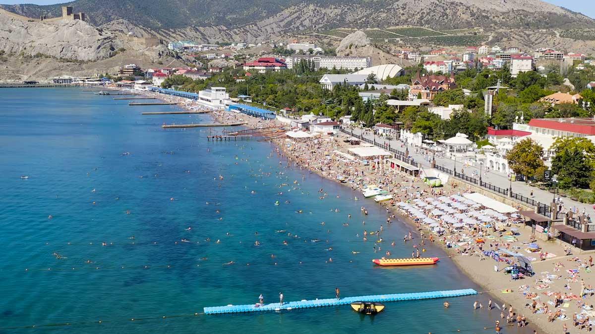 Крым пляж люди отдых