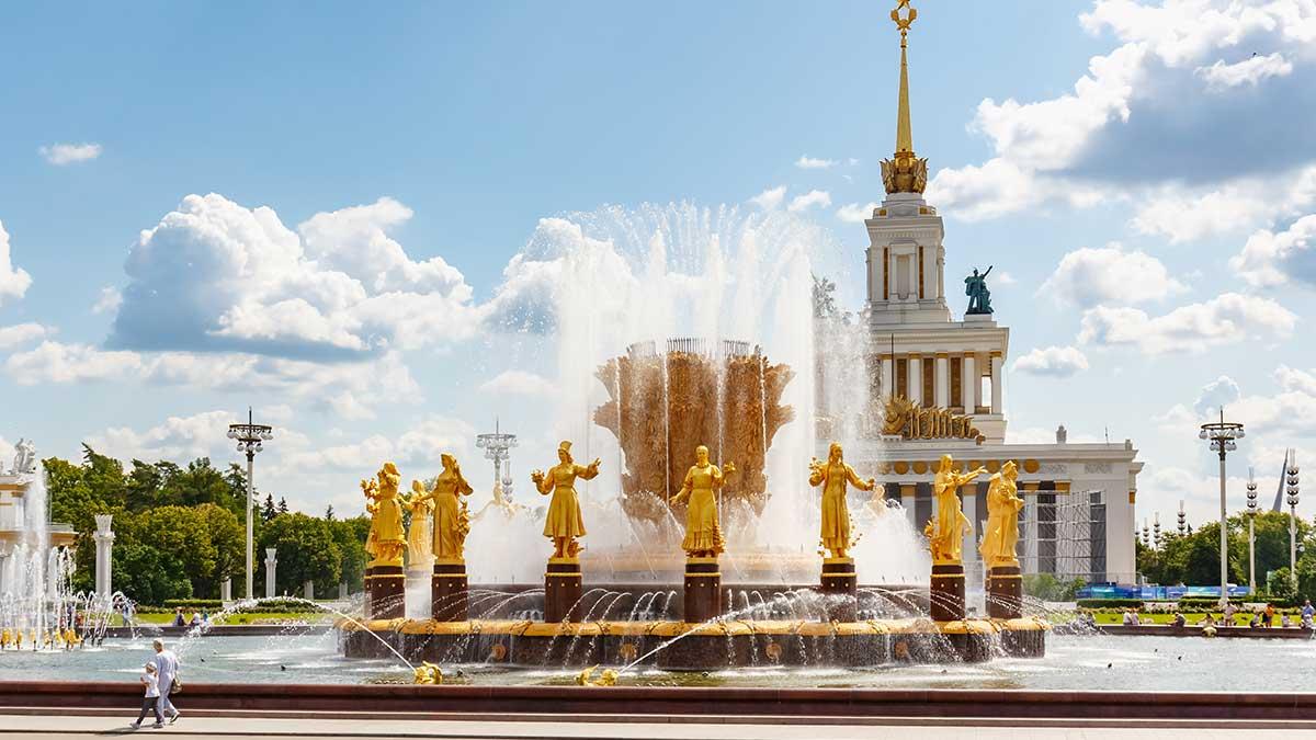 Москва фонтаны ВДНХ тепло солнце