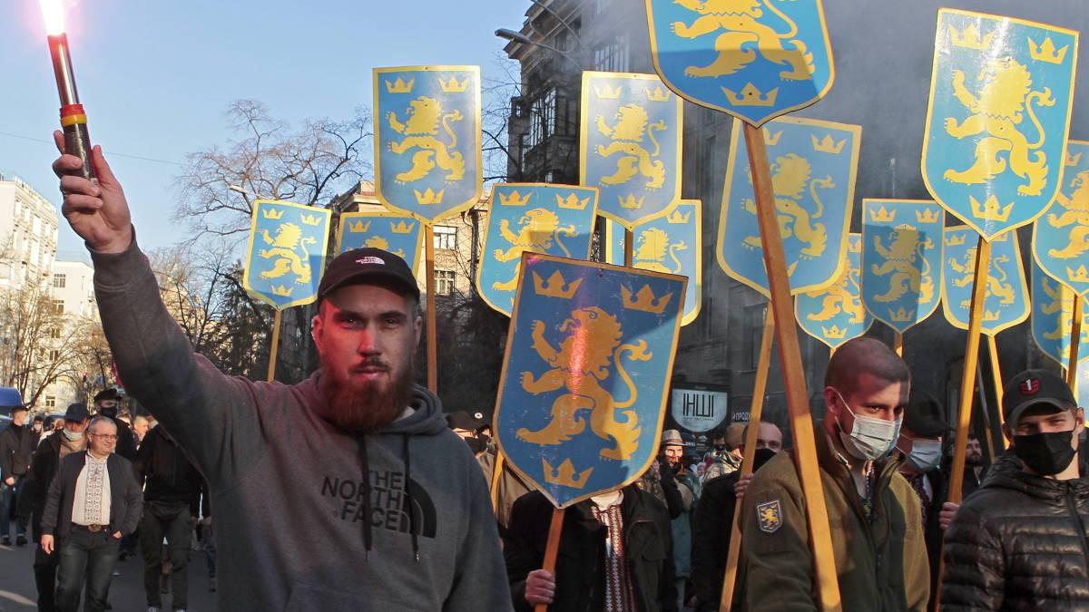 Марш националистов в честь дня организации дивизии СС Галичина в Киеве