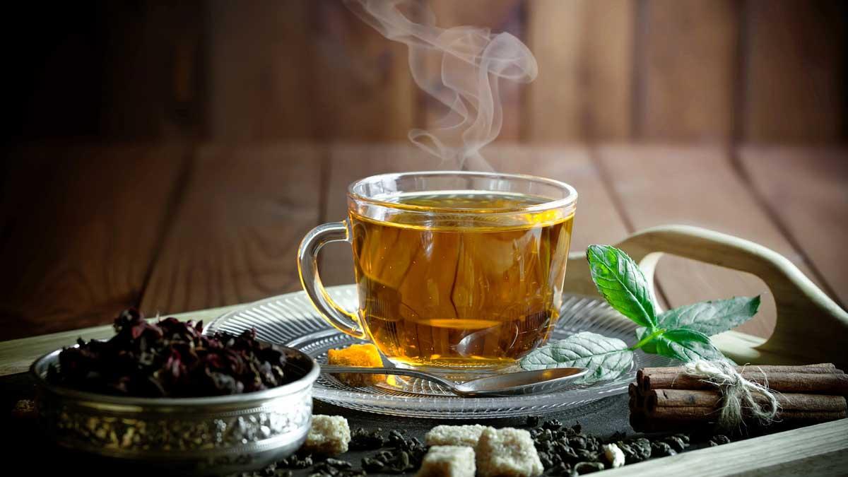 чашка чая мята сахар