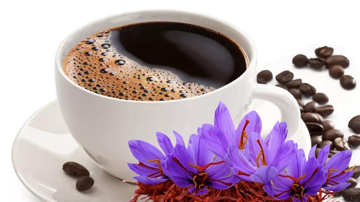 чашка кофе и шафран