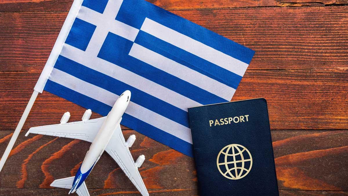 флаг Греции самолет паспорт