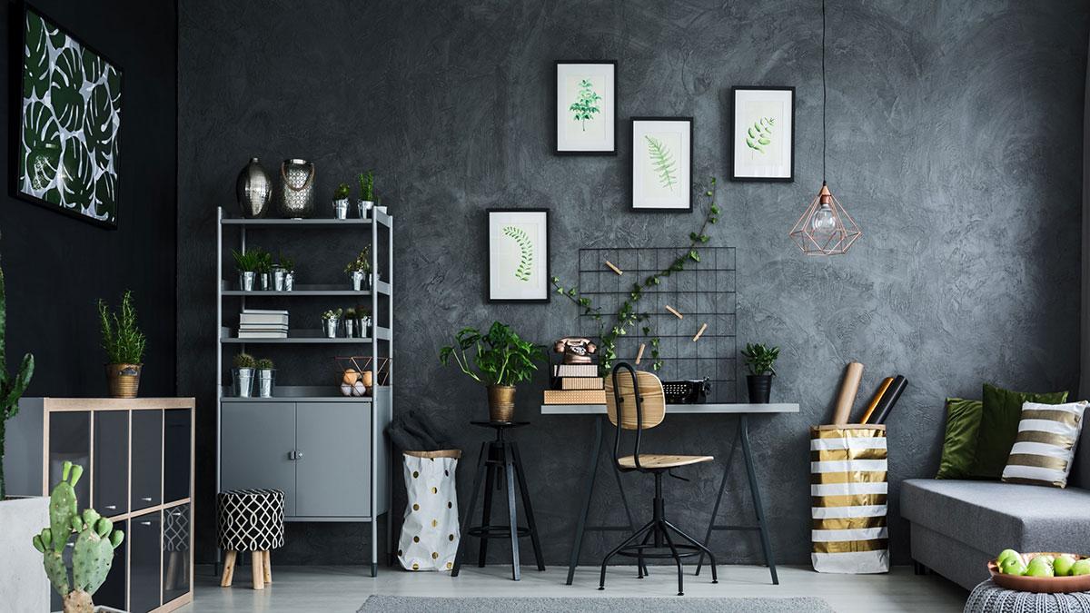интерьер в серых тонах растения стены ремонт