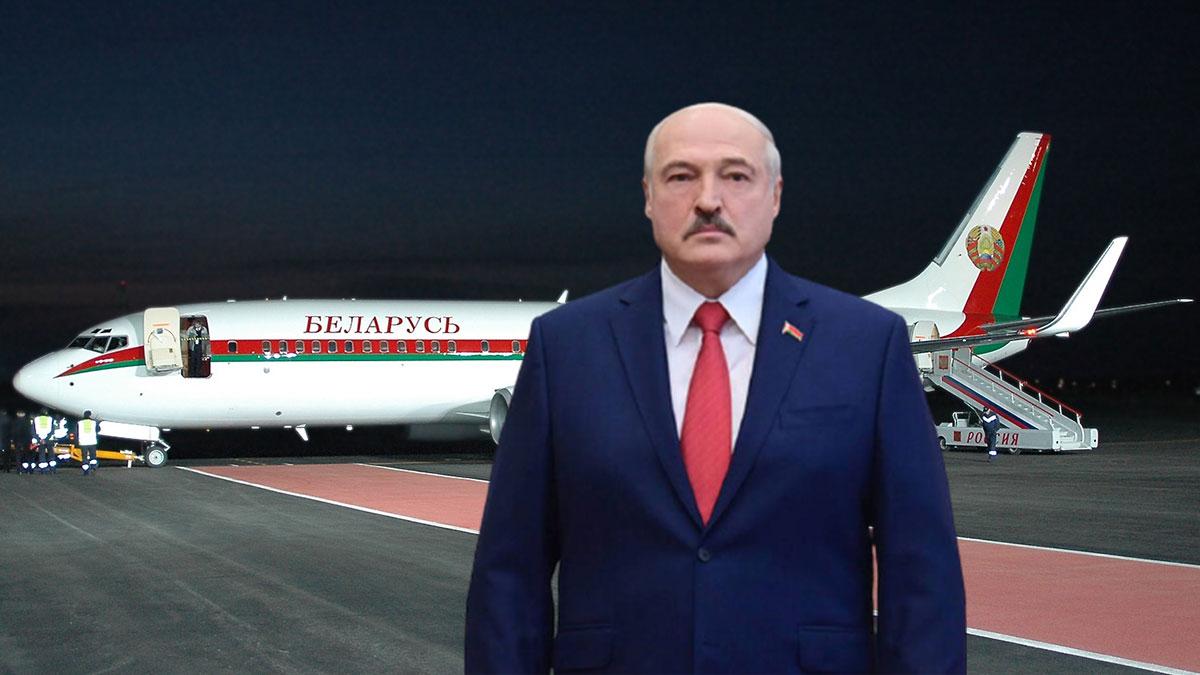 Лукашенко на фоне самолета президента Белоруссии