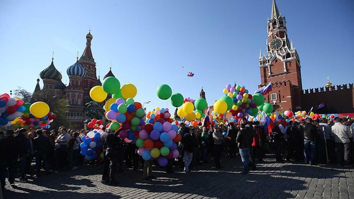 майский праздник 1 мая шарики Красная площадь