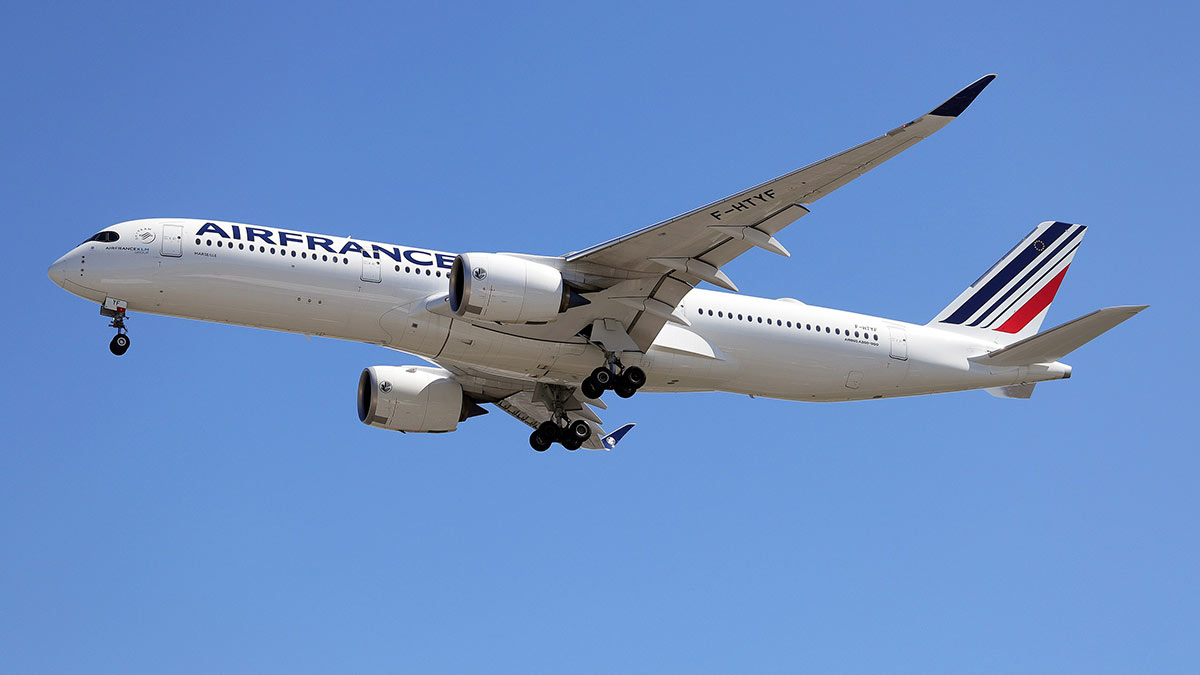 самолет Air France в полете небо