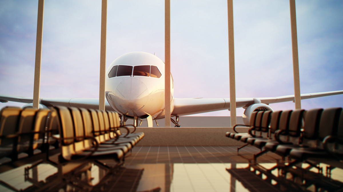 Пустой аэропорт терминал пассажирский самолёт