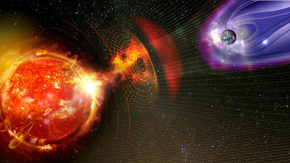 Магнитная солнечная буря Земля волны вспышки на Солнце