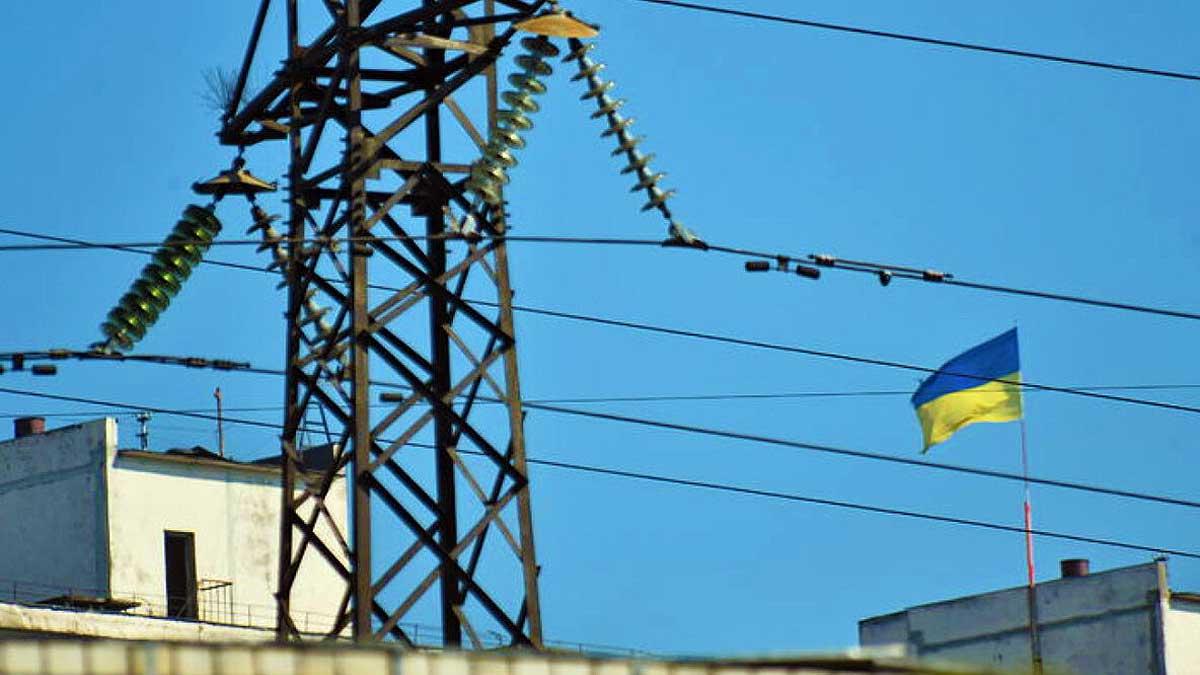 столб ЛЭП флаг Украина