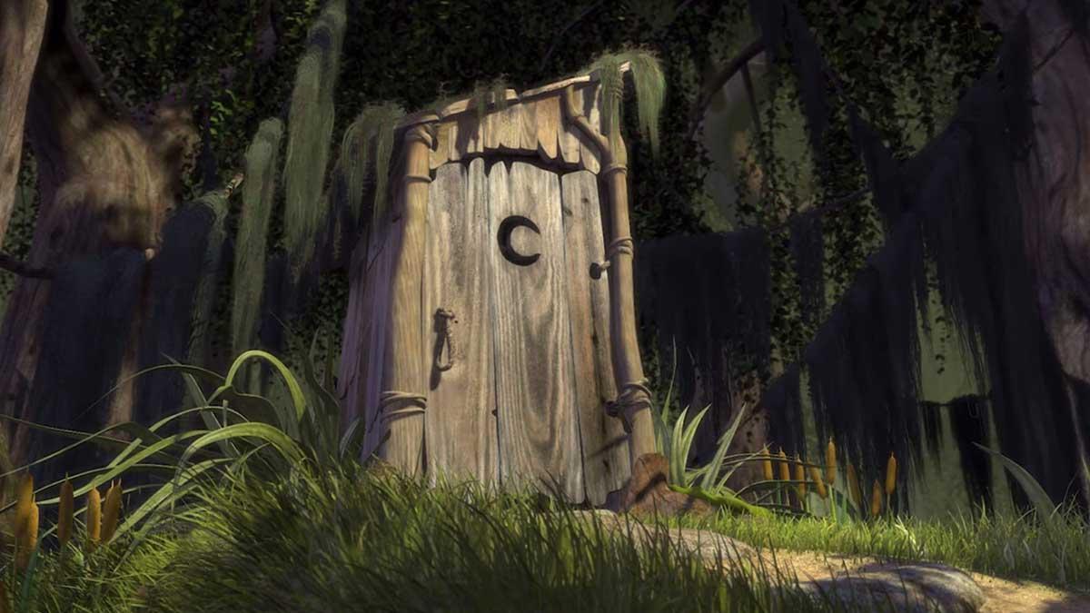 туалет трава деревья болото шрек