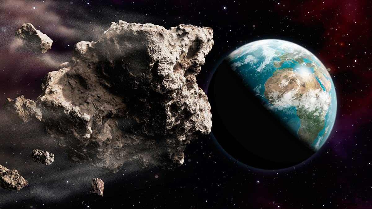 визуализация опасного крупного астероида, угрожающего ударом на планету Земля
